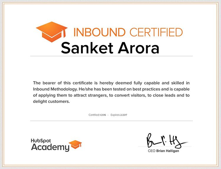 Inbound marketing certificate- Hubspot